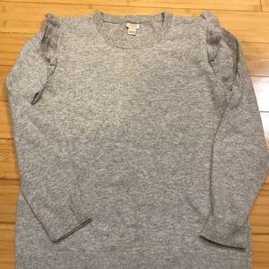 Jcrew ruffle sleeve sweater m